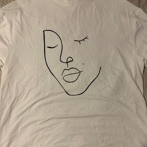 White Abstract Oversized Tee